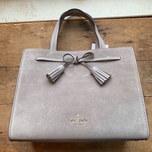 Hayes Suede Small Satchel in Soft Taupe